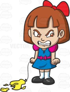 A girl with brown hair, wearing a red bow at the back of her head, a denim dress with pinkish violet sleeves and bow belt, white socks and black shoes, furrows her eyes and brows while gritting her teeth in anger, right hand holding a thread of a popped yellow balloon